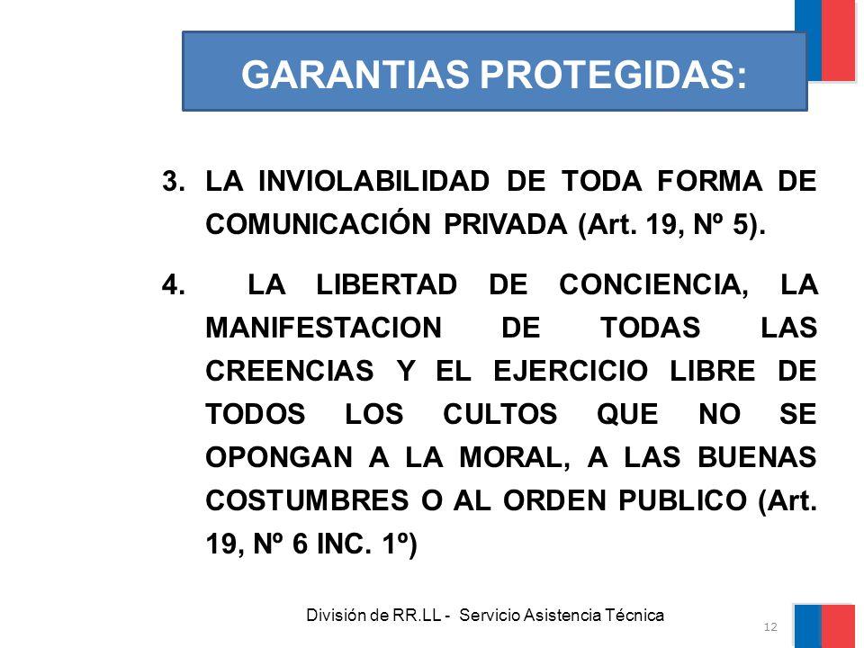 División de RR.LL - Servicio Asistencia Técnica GARANTIAS PROTEGIDAS: 3.LA INVIOLABILIDAD DE TODA FORMA DE COMUNICACIÓN PRIVADA (Art. 19, Nº 5). 4. LA