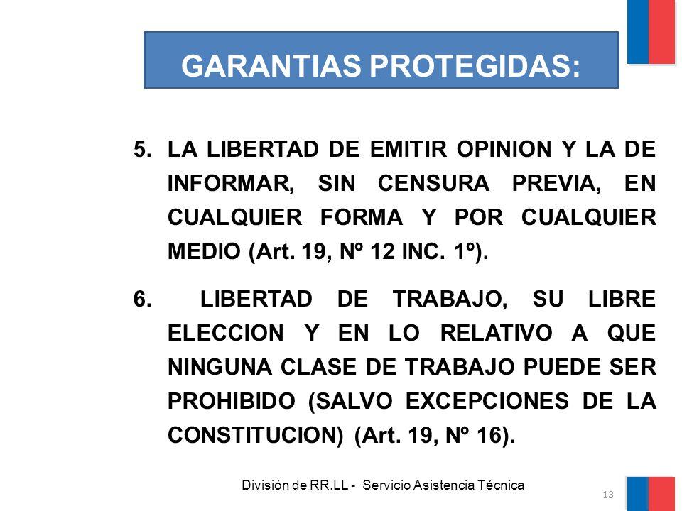 División de RR.LL - Servicio Asistencia Técnica GARANTIAS PROTEGIDAS: 5.LA LIBERTAD DE EMITIR OPINION Y LA DE INFORMAR, SIN CENSURA PREVIA, EN CUALQUI