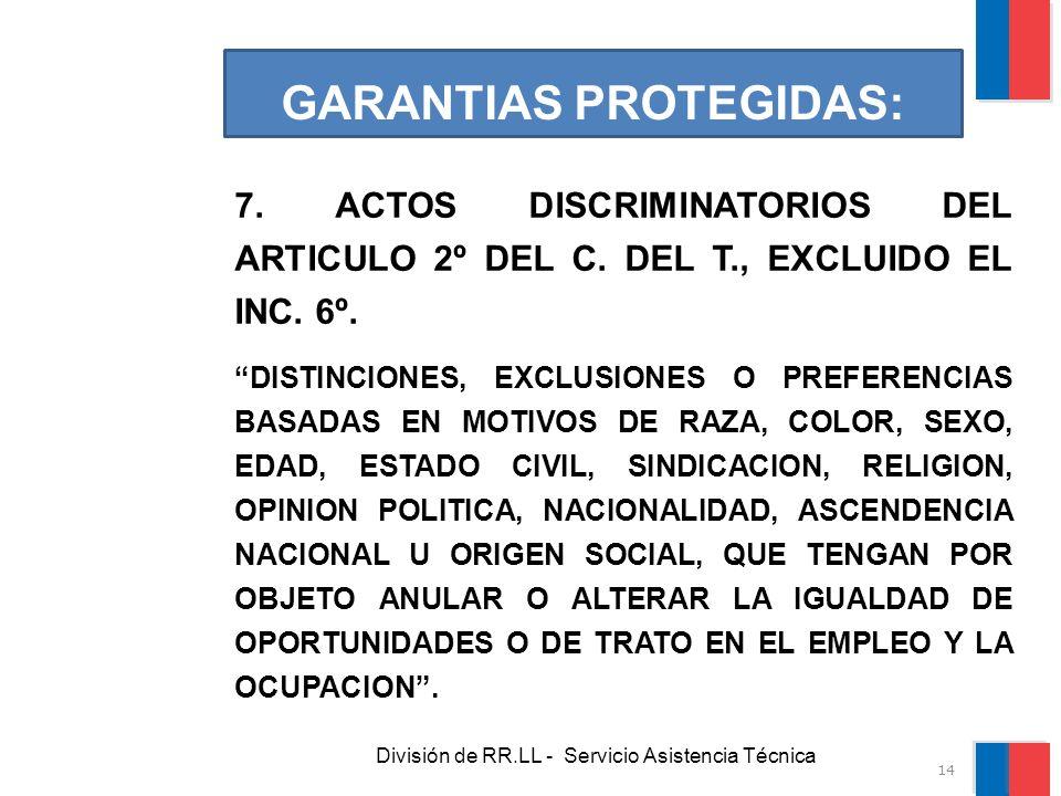 División de RR.LL - Servicio Asistencia Técnica GARANTIAS PROTEGIDAS: 7. ACTOS DISCRIMINATORIOS DEL ARTICULO 2º DEL C. DEL T., EXCLUIDO EL INC. 6º. DI
