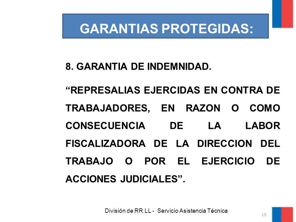 División de RR.LL - Servicio Asistencia Técnica GARANTIAS PROTEGIDAS: 8. GARANTIA DE INDEMNIDAD. REPRESALIAS EJERCIDAS EN CONTRA DE TRABAJADORES, EN R
