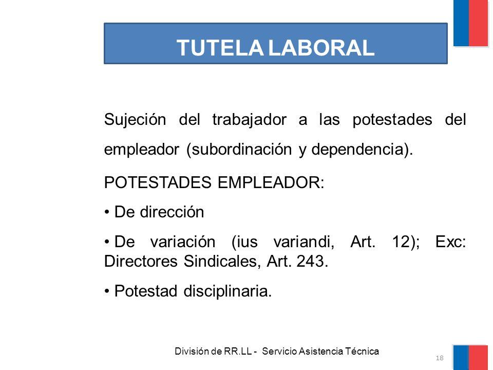 División de RR.LL - Servicio Asistencia Técnica TUTELA LABORAL Sujeción del trabajador a las potestades del empleador (subordinación y dependencia). P