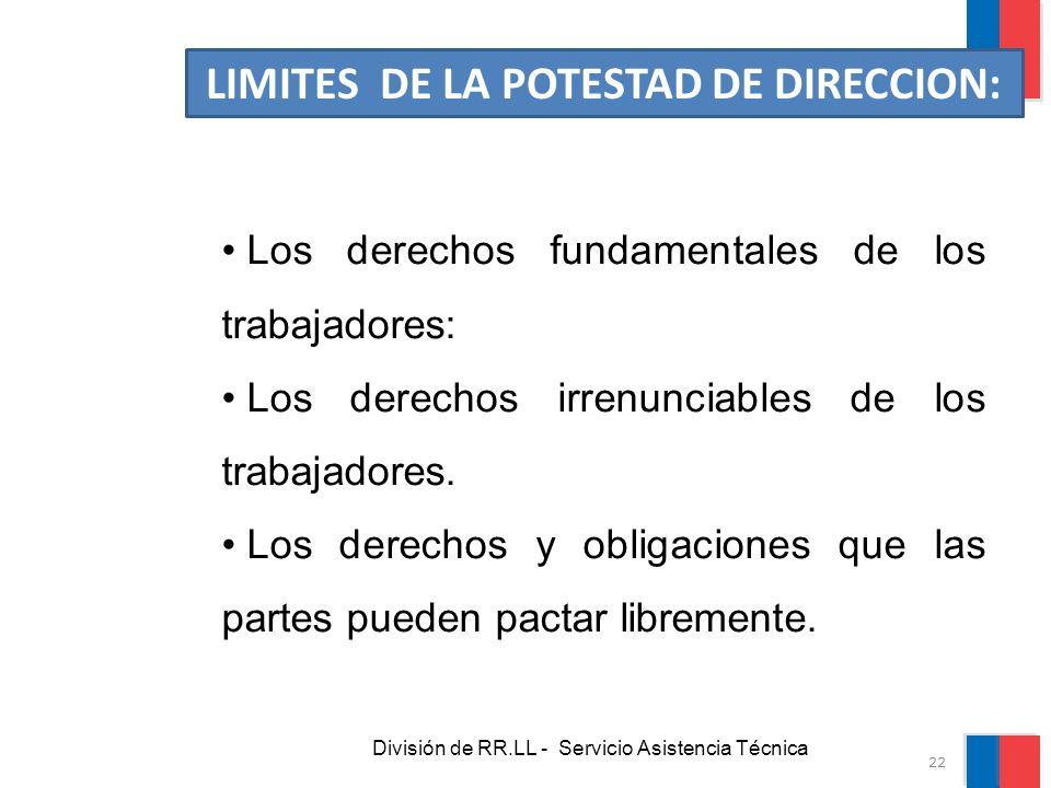 División de RR.LL - Servicio Asistencia Técnica LIMITES DE LA POTESTAD DE DIRECCION: Los derechos fundamentales de los trabajadores: Los derechos irre