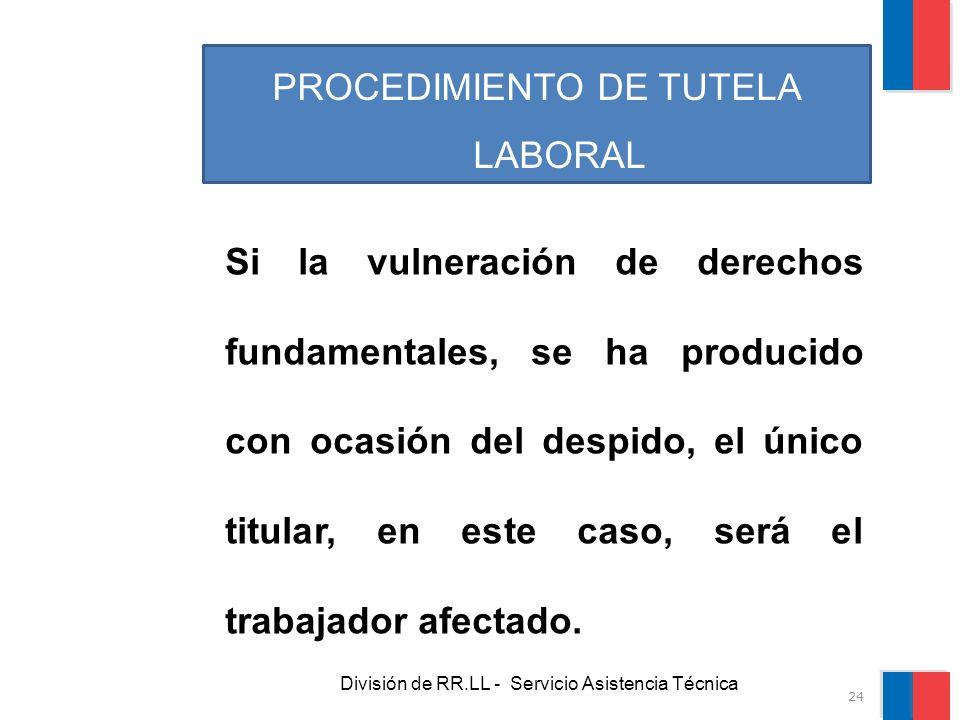 División de RR.LL - Servicio Asistencia Técnica PROCEDIMIENTO DE TUTELA LABORAL Si la vulneración de derechos fundamentales, se ha producido con ocasi