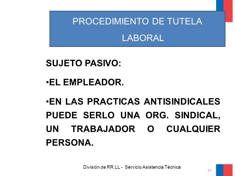 División de RR.LL - Servicio Asistencia Técnica PROCEDIMIENTO DE TUTELA LABORAL SUJETO PASIVO: EL EMPLEADOR. EN LAS PRACTICAS ANTISINDICALES PUEDE SER