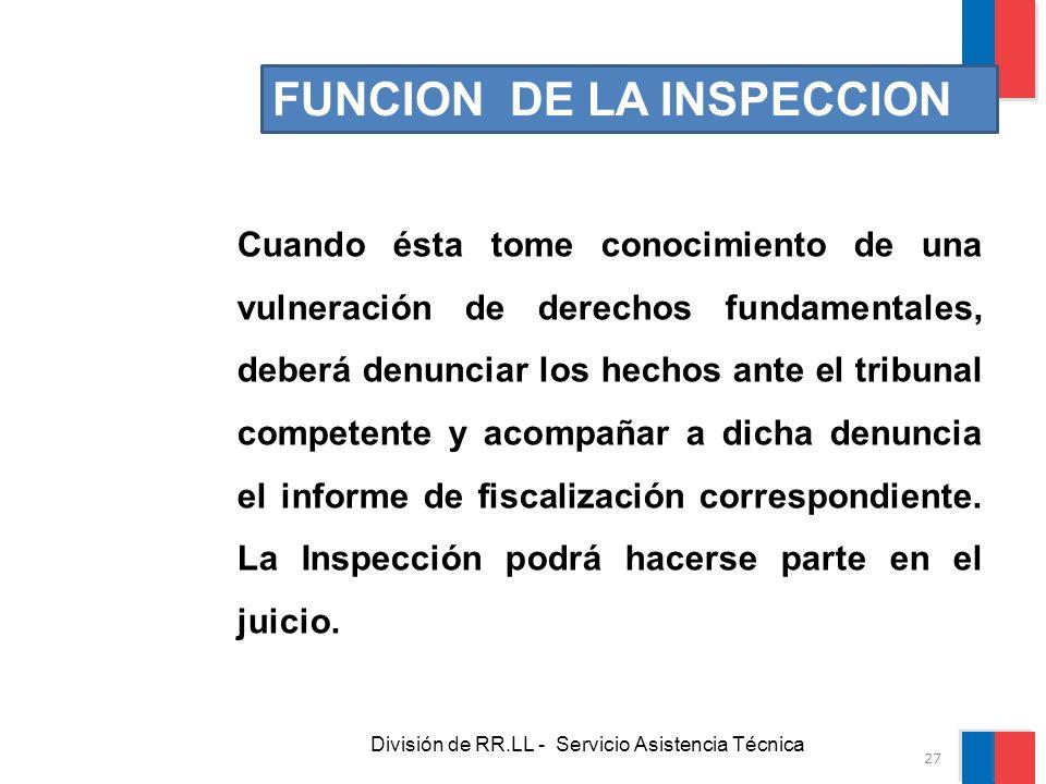 División de RR.LL - Servicio Asistencia Técnica FUNCION DE LA INSPECCION Cuando ésta tome conocimiento de una vulneración de derechos fundamentales, d