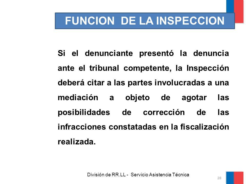 División de RR.LL - Servicio Asistencia Técnica FUNCION DE LA INSPECCION Si el denunciante presentó la denuncia ante el tribunal competente, la Inspec