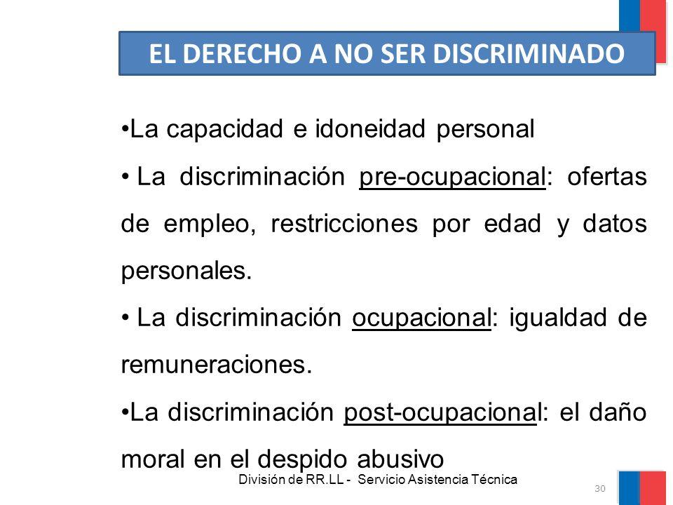 División de RR.LL - Servicio Asistencia Técnica EL DERECHO A NO SER DISCRIMINADO La capacidad e idoneidad personal La discriminación pre-ocupacional: