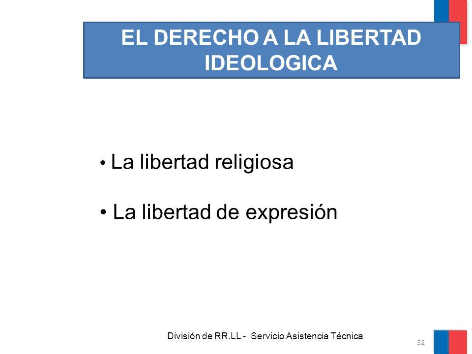 División de RR.LL - Servicio Asistencia Técnica EL DERECHO A LA LIBERTAD IDEOLOGICA La libertad religiosa La libertad de expresión 32