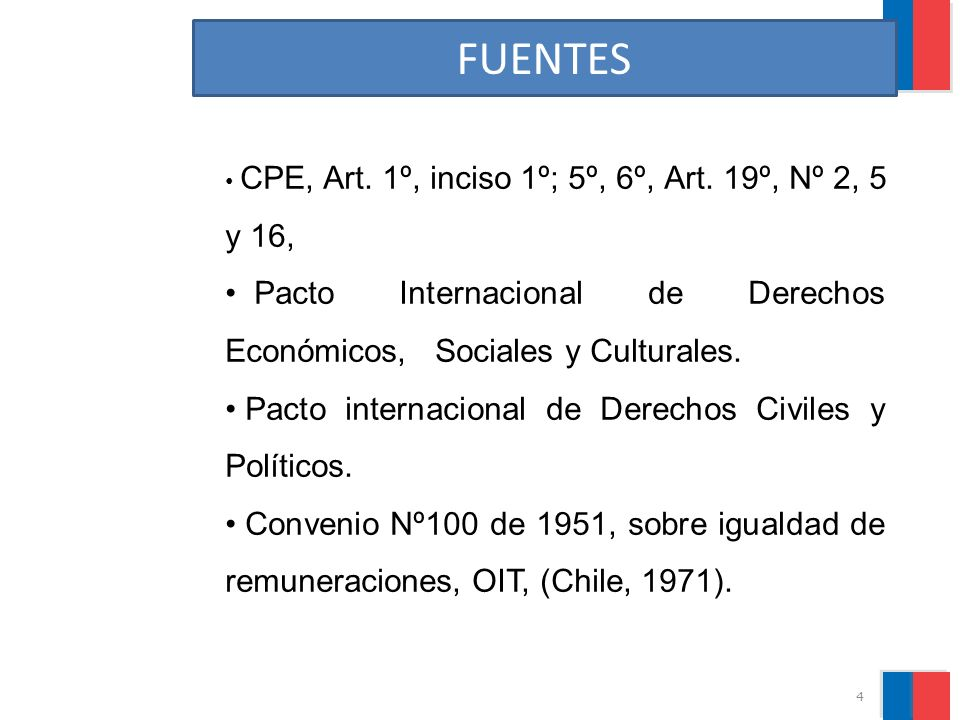 FUENTES CPE, Art. 1º, inciso 1º; 5º, 6º, Art. 19º, Nº 2, 5 y 16, Pacto Internacional de Derechos Económicos, Sociales y Culturales. Pacto internaciona