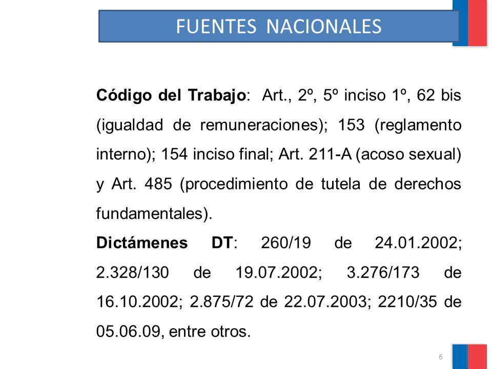 FUENTES NACIONALES Código del Trabajo: Art., 2º, 5º inciso 1º, 62 bis (igualdad de remuneraciones); 153 (reglamento interno); 154 inciso final; Art. 2