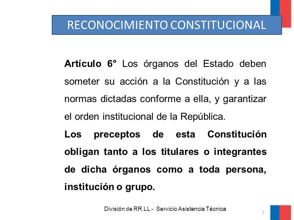 División de RR.LL - Servicio Asistencia Técnica Artículo 6° Los órganos del Estado deben someter su acción a la Constitución y a las normas dictadas c