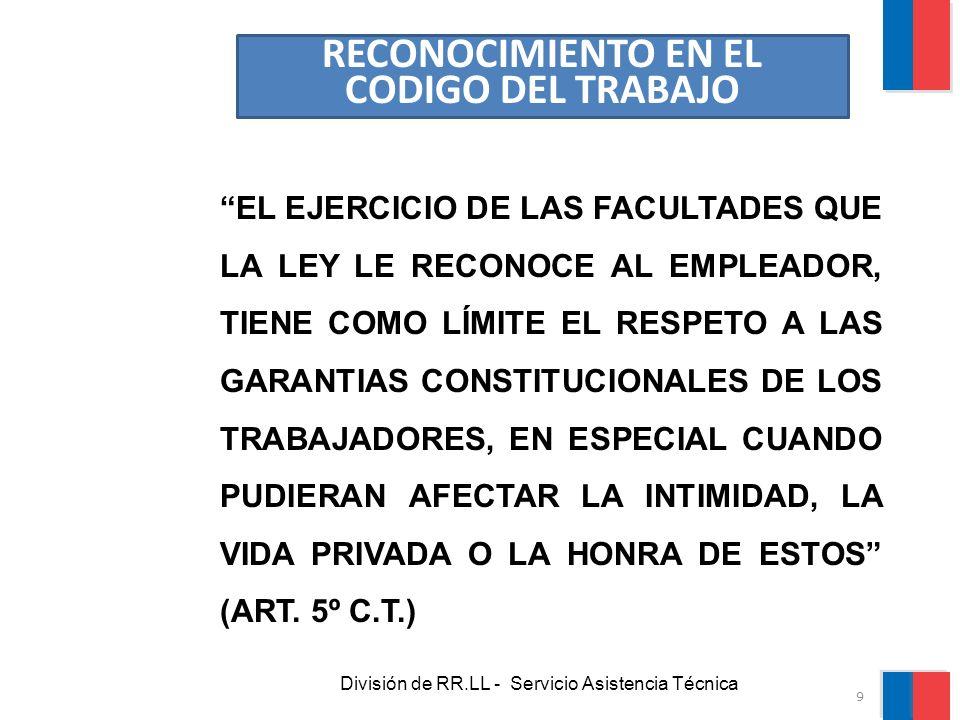 División de RR.LL - Servicio Asistencia Técnica GARANTIAS PROTEGIDAS: La protección se realiza a través del Procedimiento de Tutela Laboral, establecido en el Art.