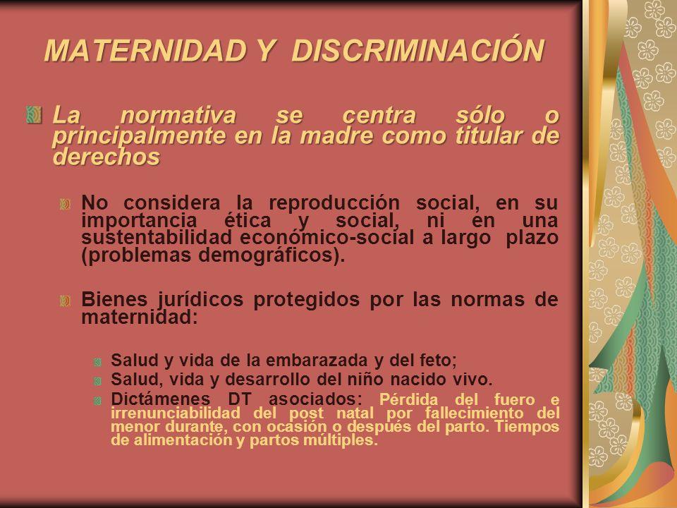 MATERNIDAD Y DISCRIMINACIÓN La normativa se centra sólo o principalmente en la madre como titular de derechos No considera la reproducción social, en