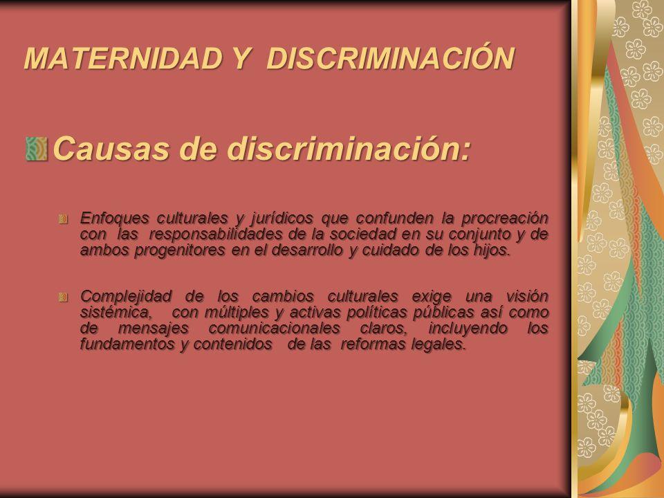 MATERNIDAD Y DISCRIMINACIÓN Causas de discriminación: Lo anterior: No implica limitar la libertad de elección de las mujeres Tampoco admite plantear soluciones que refuercen cultura discriminatoria, por ej.