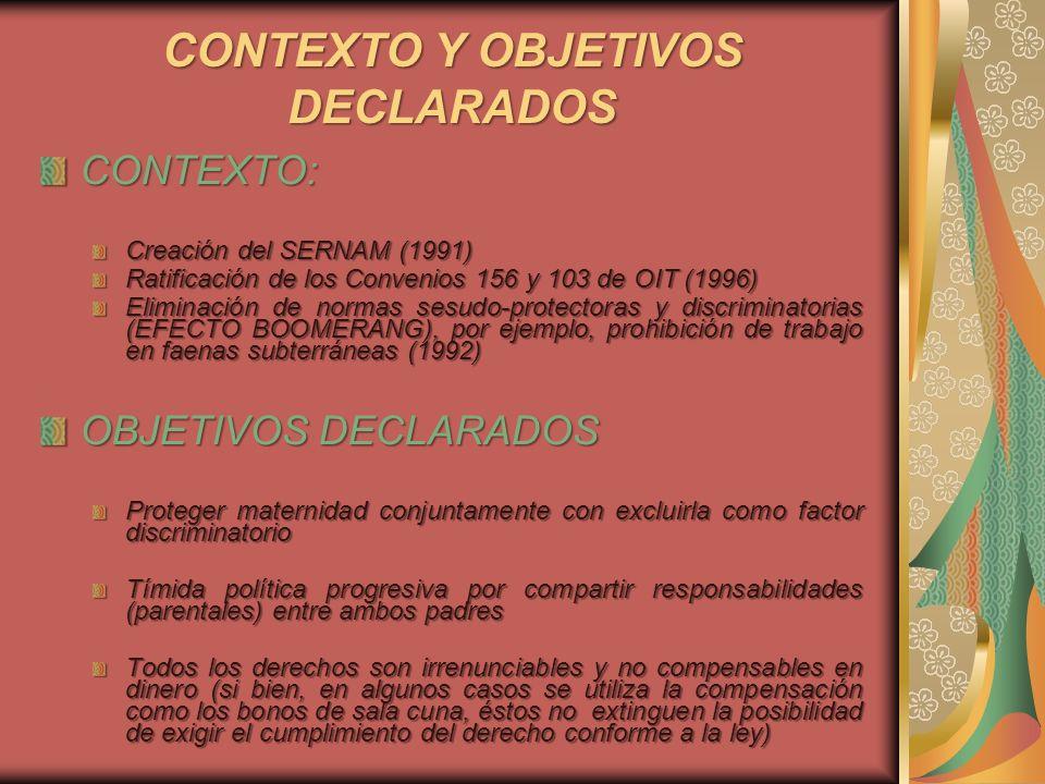 CONTEXTO Y OBJETIVOS DECLARADOS CONTEXTO: Creación del SERNAM (1991) Ratificación de los Convenios 156 y 103 de OIT (1996) Eliminación de normas sesud