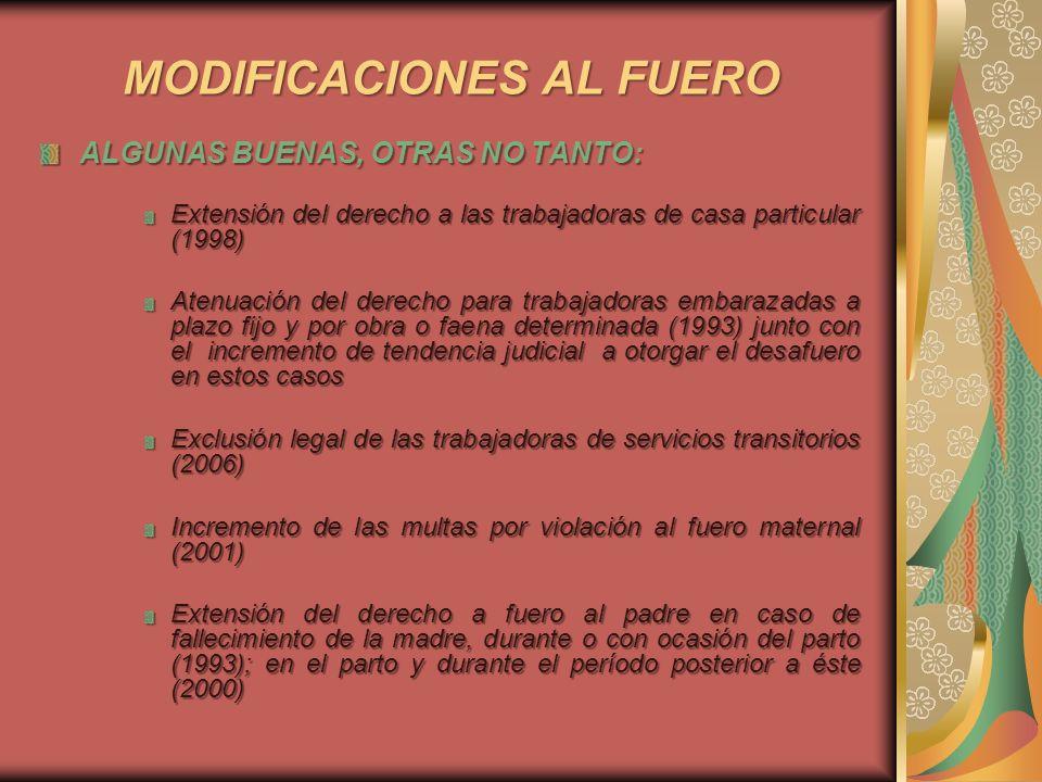 MODIFICACIONES AL FUERO ALGUNAS BUENAS, OTRAS NO TANTO: Extensión del derecho a las trabajadoras de casa particular (1998) Atenuación del derecho para