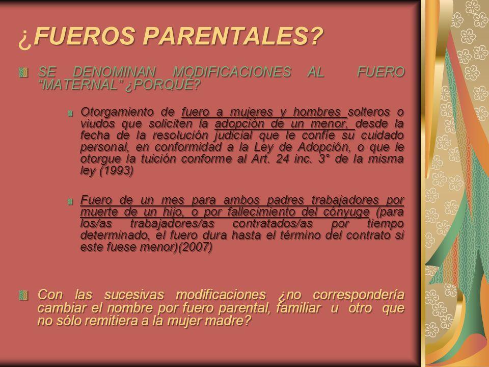 FUEROS PARENTALES? ¿ FUEROS PARENTALES? SE DENOMINAN MODIFICACIONES AL FUERO MATERNAL ¿PORQUÉ? Otorgamiento de fuero a mujeres y hombres solteros o vi