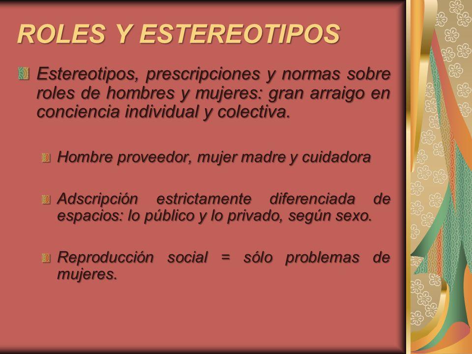 ROLES Y ESTEREOTIPOS Estereotipos, prescripciones y normas sobre roles de hombres y mujeres: gran arraigo en conciencia individual y colectiva. Hombre