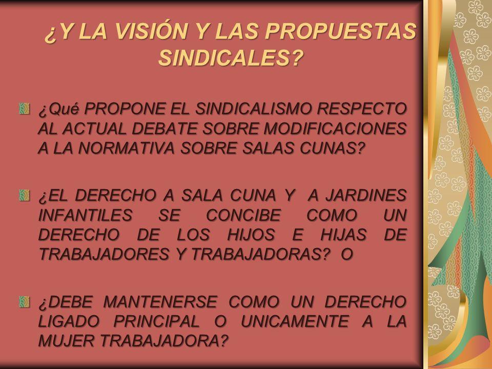 ¿Y LA VISIÓN Y LAS PROPUESTAS SINDICALES? ¿Qué PROPONE EL SINDICALISMO RESPECTO AL ACTUAL DEBATE SOBRE MODIFICACIONES A LA NORMATIVA SOBRE SALAS CUNAS