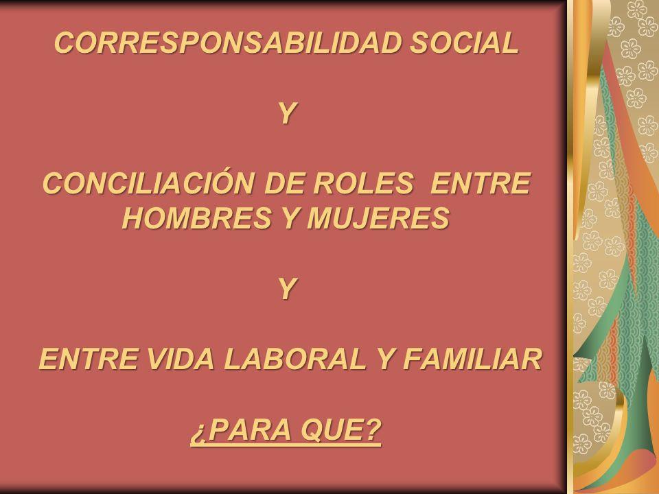 CORRESPONSABILIDAD SOCIAL Y CONCILIACIÓN DE ROLES ENTRE HOMBRES Y MUJERES Y ENTRE VIDA LABORAL Y FAMILIAR ¿PARA QUE?