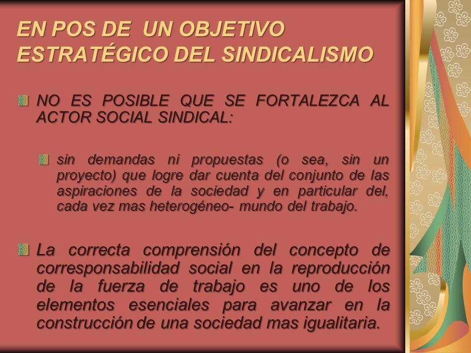 EN POS DE UN OBJETIVO ESTRATÉGICO DEL SINDICALISMO NO ES POSIBLE QUE SE FORTALEZCA AL ACTOR SOCIAL SINDICAL: sin demandas ni propuestas (o sea, sin un