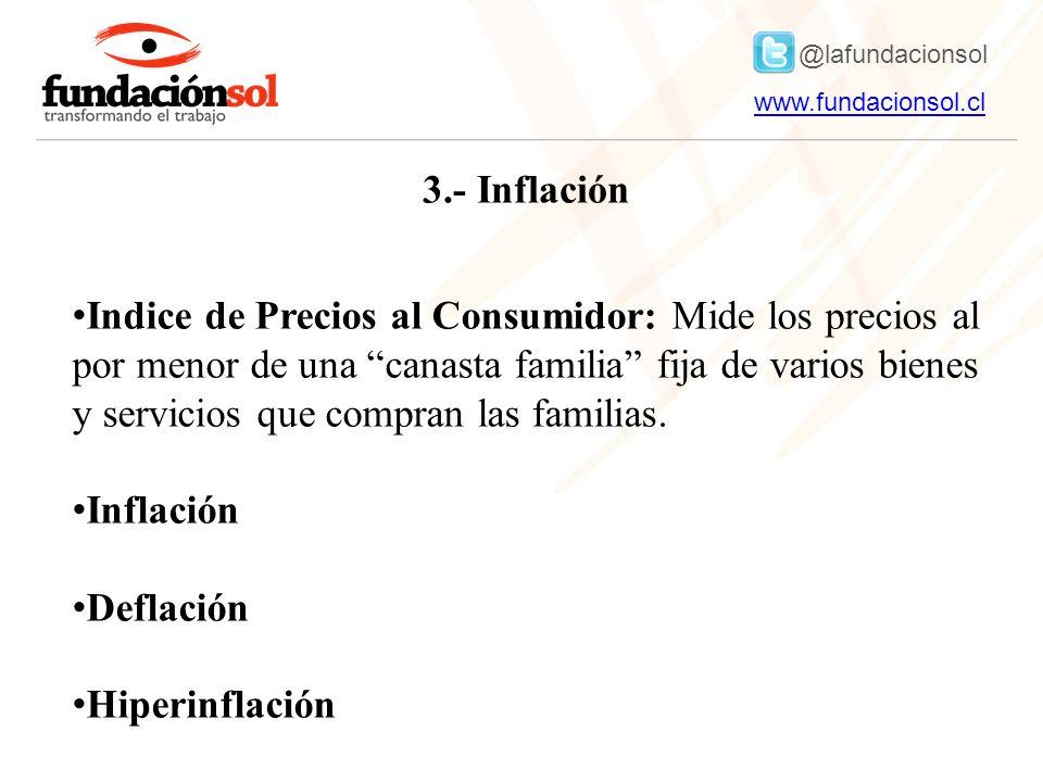@lafundacionsol www.fundacionsol.clwww.fundacionsol.cl 3.- Inflación Indice de Precios al Consumidor: Mide los precios al por menor de una canasta familia fija de varios bienes y servicios que compran las familias.