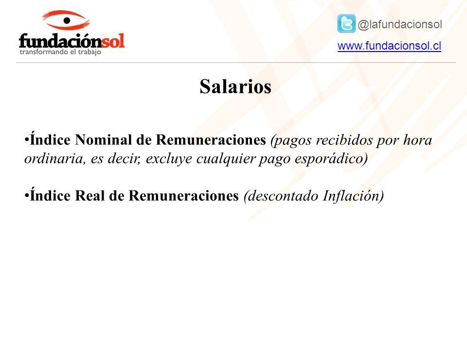 @lafundacionsol www.fundacionsol.clwww.fundacionsol.cl Salarios Índice Nominal de Remuneraciones (pagos recibidos por hora ordinaria, es decir, excluye cualquier pago esporádico) Índice Real de Remuneraciones (descontado Inflación)