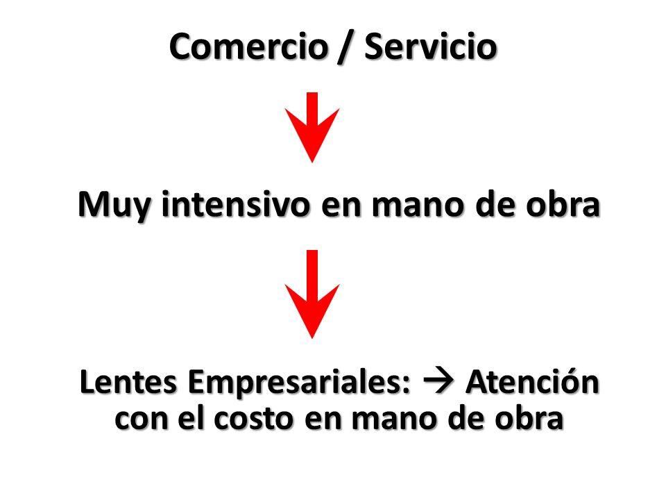 Comercio / Servicio Muy intensivo en mano de obra Lentes Empresariales: Atención con el costo en mano de obra