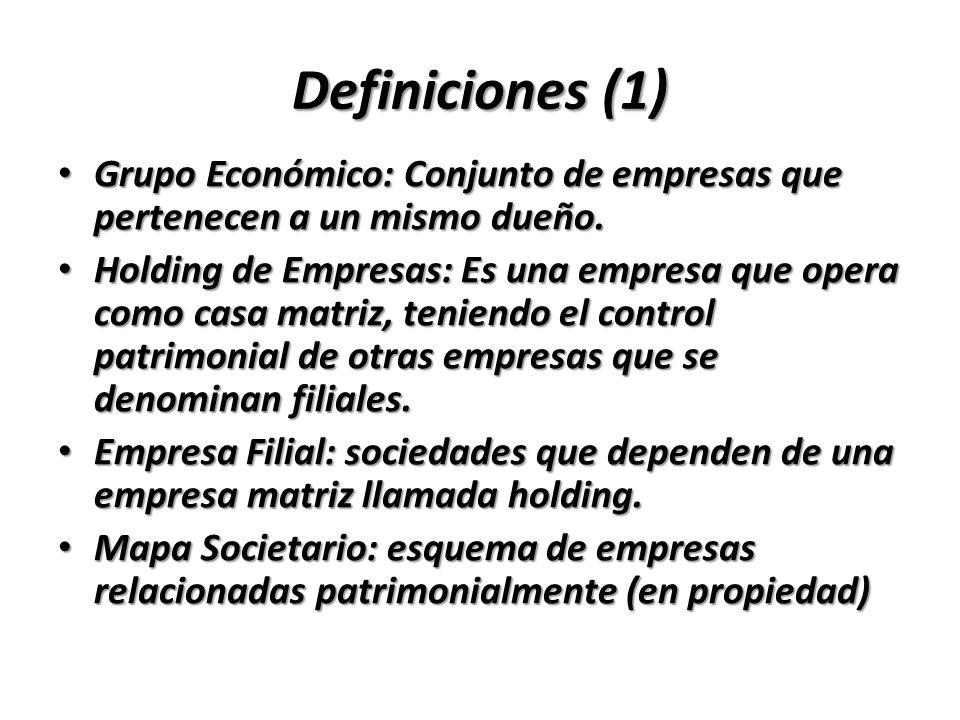 Definiciones (1) Grupo Económico: Conjunto de empresas que pertenecen a un mismo dueño. Grupo Económico: Conjunto de empresas que pertenecen a un mism