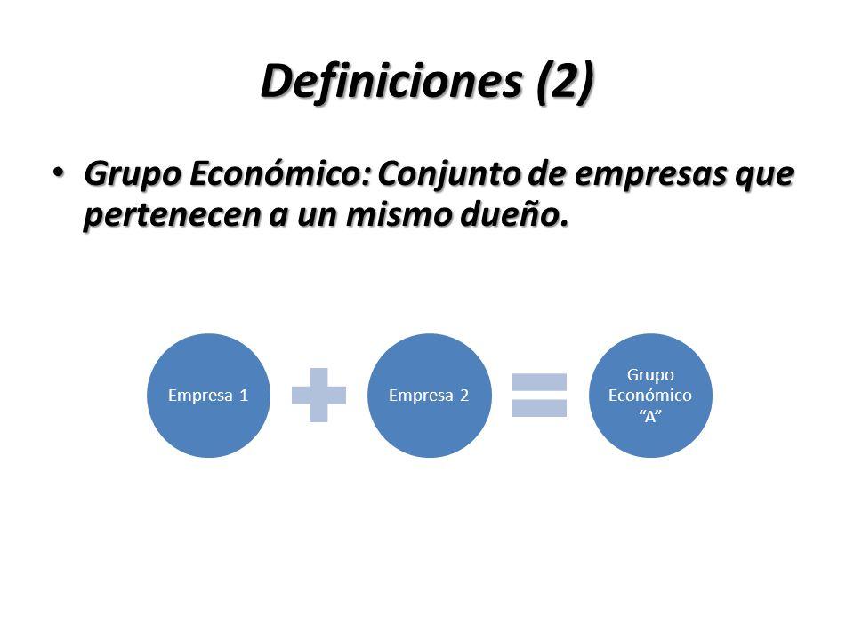 Definiciones (2) Grupo Económico: Conjunto de empresas que pertenecen a un mismo dueño. Grupo Económico: Conjunto de empresas que pertenecen a un mism