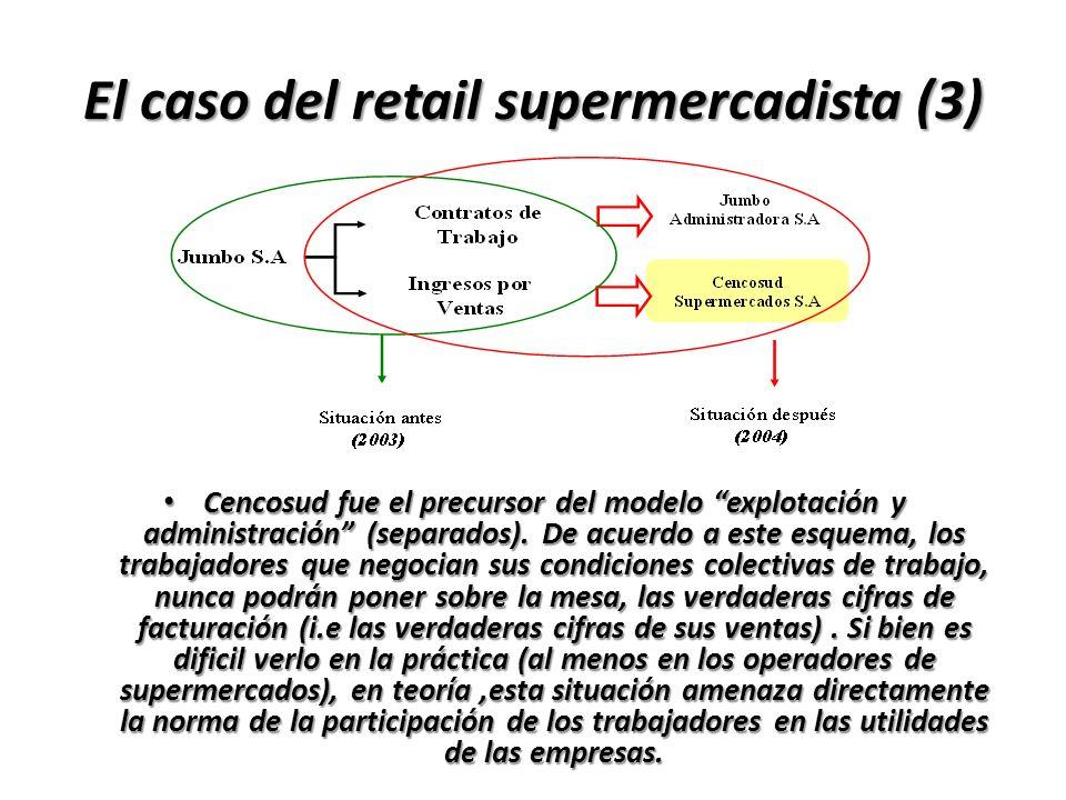 El caso del retail supermercadista (3) Cencosud fue el precursor del modelo explotación y administración (separados). De acuerdo a este esquema, los t
