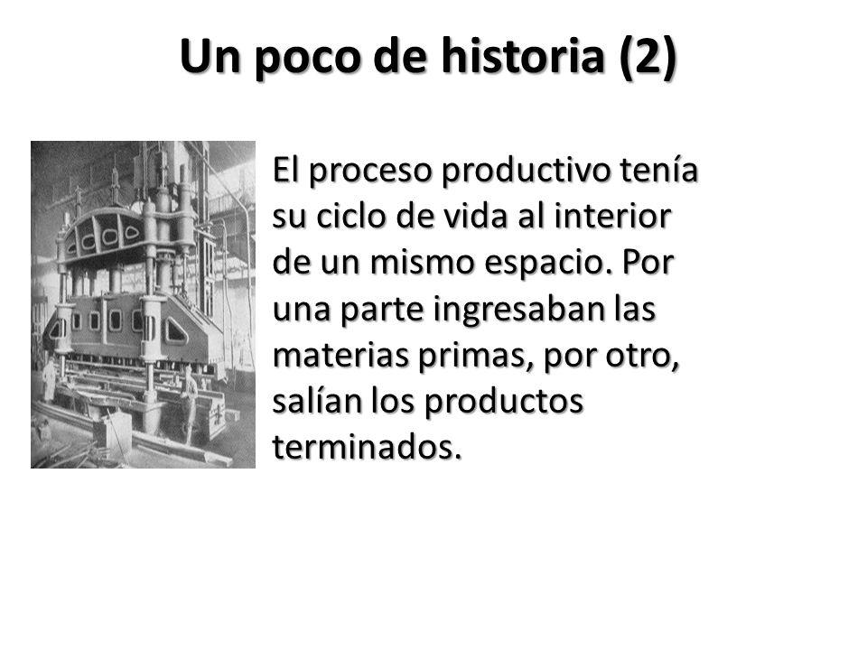 Un poco de historia (2) El proceso productivo tenía su ciclo de vida al interior de un mismo espacio. Por una parte ingresaban las materias primas, po