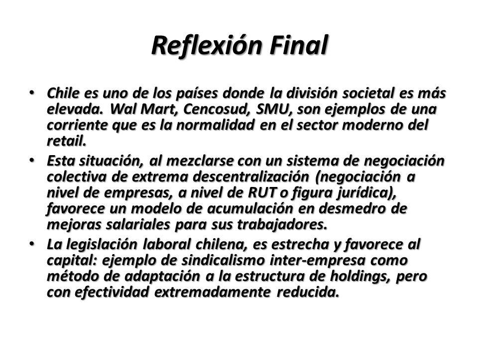 Reflexión Final Chile es uno de los países donde la división societal es más elevada. Wal Mart, Cencosud, SMU, son ejemplos de una corriente que es la