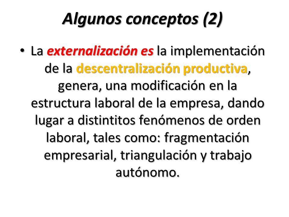 Algunos conceptos (2) La externalización es la implementación de la descentralización productiva, genera, una modificación en la estructura laboral de