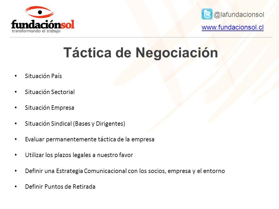 @lafundacionsol www.fundacionsol.clwww.fundacionsol.cl Táctica de Negociación Situación País Situación Sectorial Situación Empresa Situación Sindical