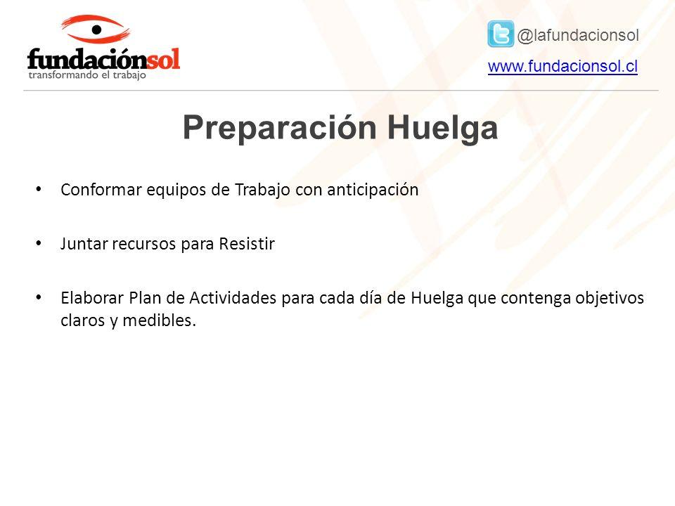 @lafundacionsol www.fundacionsol.clwww.fundacionsol.cl Preparación Huelga Conformar equipos de Trabajo con anticipación Juntar recursos para Resistir