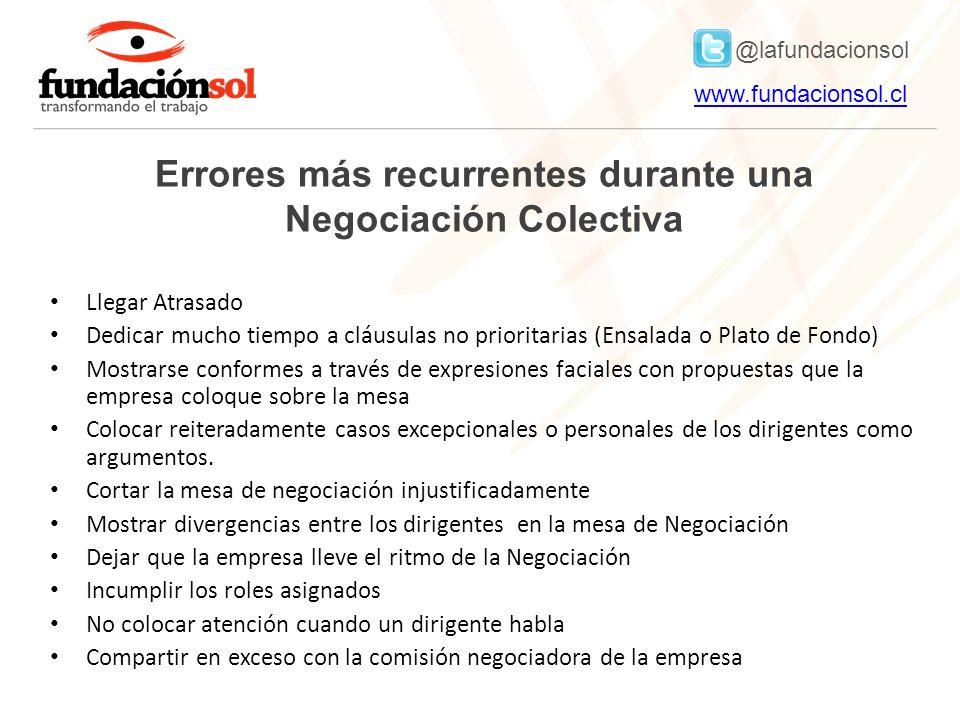 @lafundacionsol www.fundacionsol.clwww.fundacionsol.cl Errores más recurrentes durante una Negociación Colectiva Llegar Atrasado Dedicar mucho tiempo