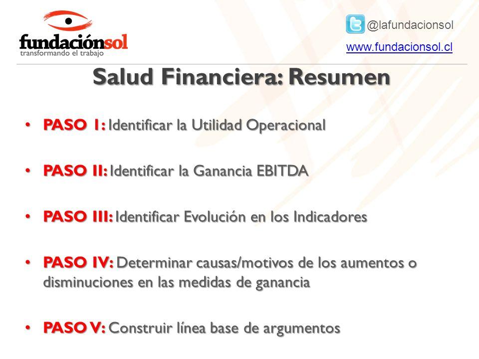@lafundacionsol www.fundacionsol.clwww.fundacionsol.cl Salud Financiera: Resumen PASO 1: Identificar la Utilidad Operacional PASO 1: Identificar la Ut