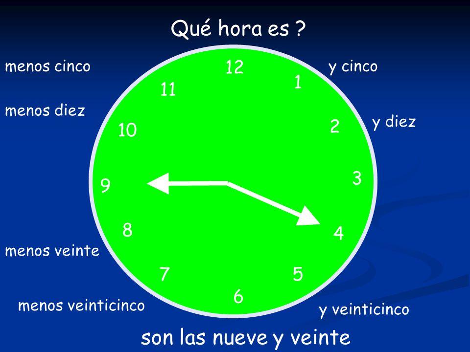 12 1 5 4 9 3 6 10 11 2 7 8 Qué hora es ? son las nueve y veinte y cinco y diez y veinticinco menos veinticinco menos veinte menos diez menos cinco