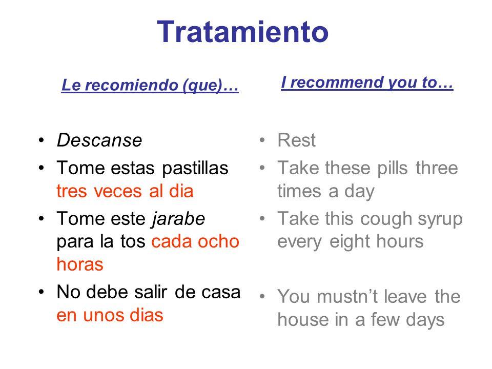 Tratamiento Descanse Tome estas pastillas tres veces al dia Tome este jarabe para la tos cada ocho horas No debe salir de casa en unos dias Le recomie