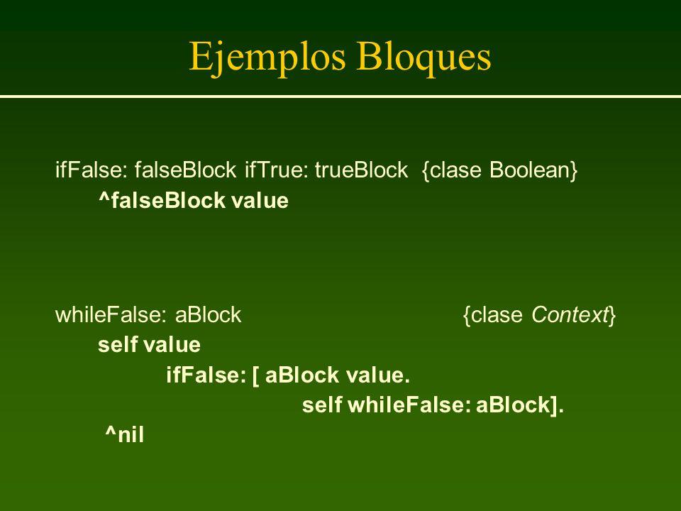 Ejemplos Bloques ifFalse: falseBlock ifTrue: trueBlock {clase Boolean} ^falseBlock value whileFalse: aBlock {clase Context} self value ifFalse: [ aBlo