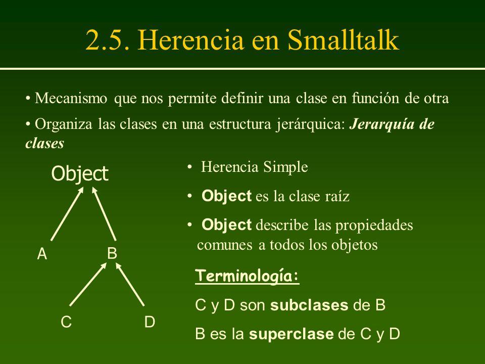 2.5. Herencia en Smalltalk Herencia Simple Object es la clase raíz Object describe las propiedades comunes a todos los objetos Terminología: C y D son
