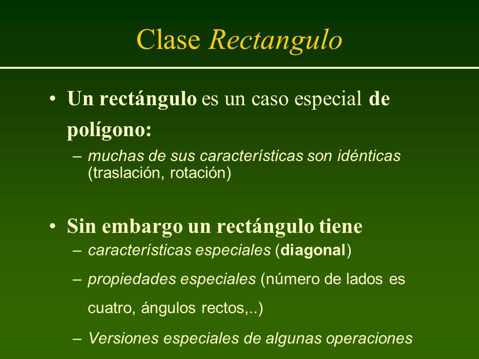Clase Rectangulo Un rectángulo es un caso especial de polígono: –muchas de sus características son idénticas (traslación, rotación) Sin embargo un rec