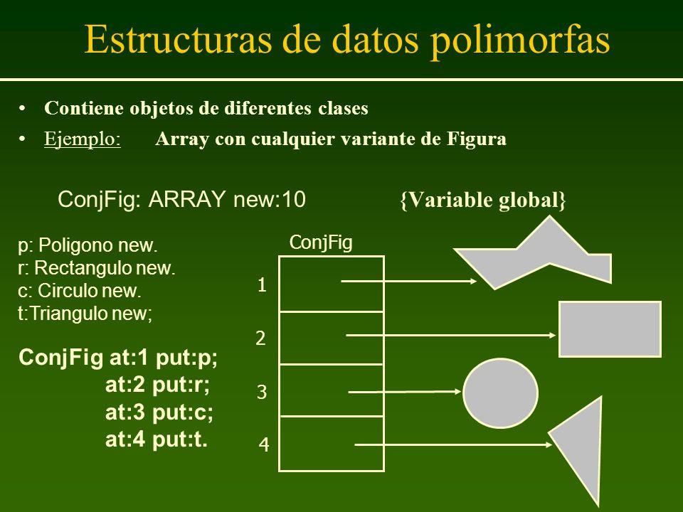 Estructuras de datos polimorfas Contiene objetos de diferentes clases Ejemplo: Array con cualquier variante de Figura ConjFig: ARRAY new:10 {Variable
