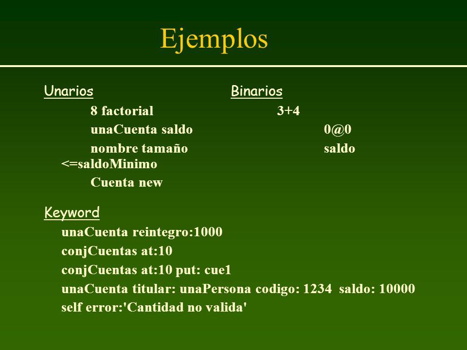 Ejemplos UnariosBinarios 8 factorial3+4 unaCuenta saldo0@0 nombre tamañosaldo <=saldoMinimo Cuenta new Keyword unaCuenta reintegro:1000 conjCuentas at