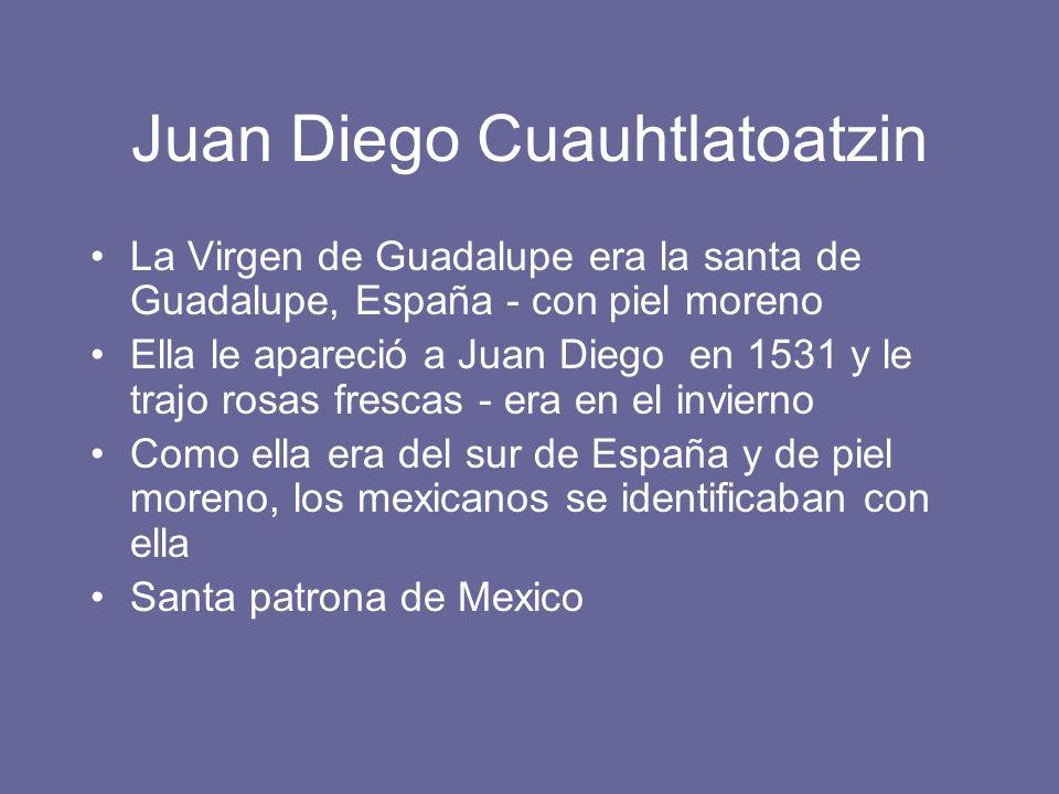 Juan Diego Cuauhtlatoatzin La Virgen de Guadalupe era la santa de Guadalupe, España - con piel moreno Ella le apareció a Juan Diego en 1531 y le trajo