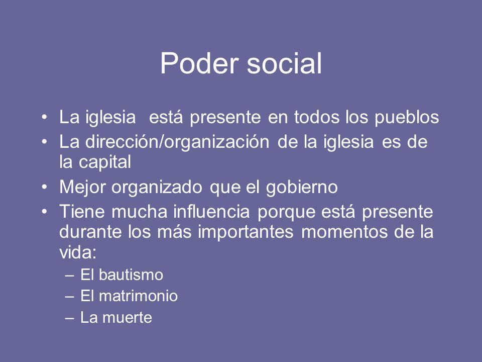 Poder social La iglesia está presente en todos los pueblos La dirección/organización de la iglesia es de la capital Mejor organizado que el gobierno T