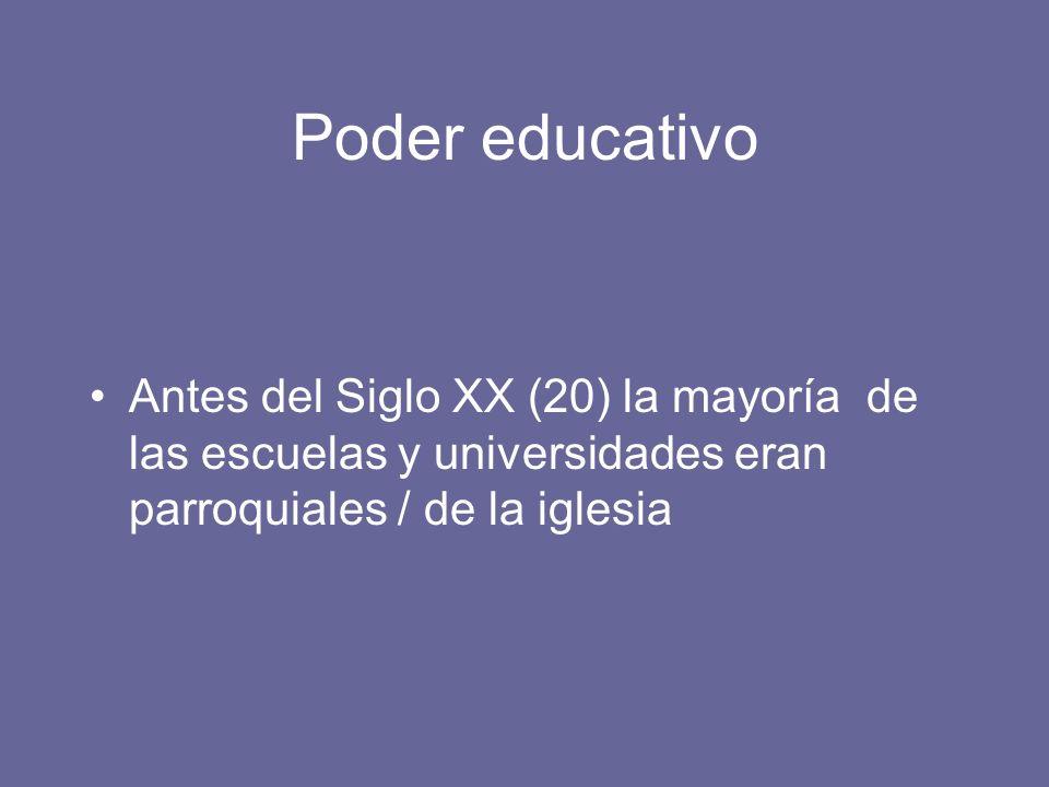 Poder educativo Antes del Siglo XX (20) la mayoría de las escuelas y universidades eran parroquiales / de la iglesia