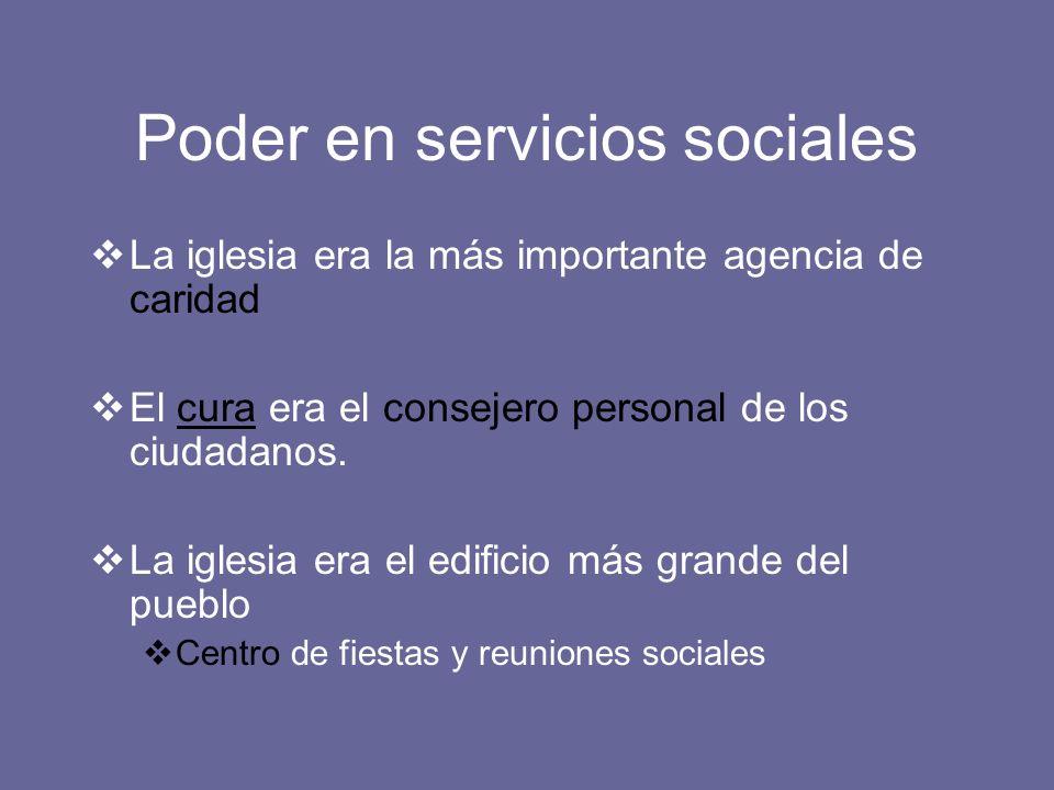 Poder en servicios sociales La iglesia era la más importante agencia de caridad El cura era el consejero personal de los ciudadanos. La iglesia era el