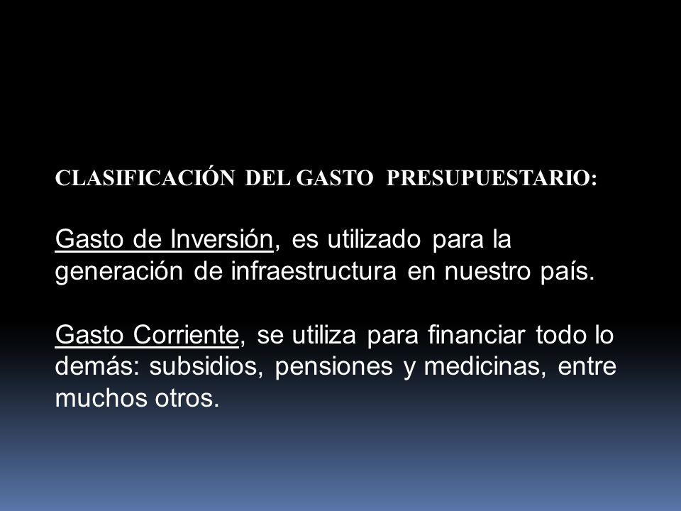 CLASIFICACIÓN DEL GASTO PRESUPUESTARIO: Gasto de Inversión, es utilizado para la generación de infraestructura en nuestro país.